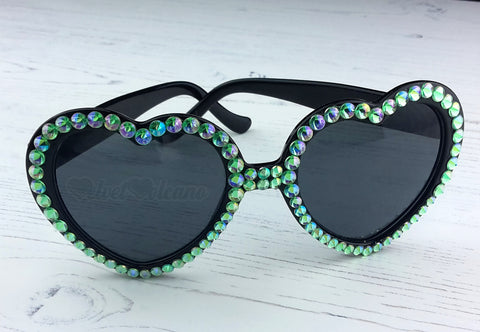 MERMAID Mint Green & Black Heart Shaped Sunglasses