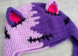 FrankenKitty / NecroKitty Purple Pom Pom Ear Flap Beanie - Lilac, Violet, Hot Pink & Black Frankensteins Monster / Zombie Inspired Cat Hat by VelvetVolcano
