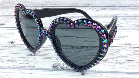 'PETROL' Black Heart Shaped Sunglasses