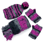 Pink, Grey & Black Chunky Pom Pom Slouchy Beanie, Long Tassel Scarf & Fingerless Gloves Set
