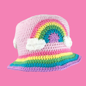 Super Kawaii Fairy Kei Baby Pink Crochet Bucket Hat with Pastel Rainbow Cloud Motif and Pastel Rainbow Striped Brim by VelvetVolcano