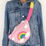 Pastel Rainbow Cloud Bum Bag with Rainbow Striped Adjustable Strap that fits from UK size 6-22