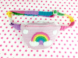 Pastel Rainbow Cloud Bum Bag with Rainbow Striped Adjustable Strap that fits from UK size 6-22 by VelvetVolcano - Fairy Kei Kawaii Fanny Pack / Belt Bag / Waist Bag