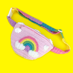 Kawaii Pastel Rainbow Cloud Bum Bag - Baby Pink Crochet Fanny Pack with Cloud Pattern and Rainbow Striped Strap/Belt by VelvetVolcano