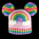 Pastel Rainbow Cloud Double Pom Pom Beanie - Kawaii Baby Pink Bobble Hat with Rainbow Motif by VelvetVolcano
