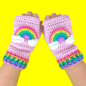 Pastel Rainbow Cloud Fingerless Gloves - Kawaii Texting Hand Warmers by VelvetVolcano