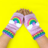 Pastel Rainbow Fairy Kei Wrist Warmers, Cute Crochet Baby Pink Texting Gloves with Pastel Rainbow Cloud Motif by VelvetVolcano