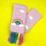 Chunky Pastel Rainbow Cloud Scarf & Fingerless Gloves Set