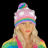 Pastel Rainbow Cloud Pom Pom Beanie - Baby Pink Crocheted Hat with White Clouds and Pastel Rainbow Pom Pom and Brim - Cute Kawaii Fairy Kei Winter Hat by VelvetVolcano