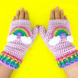 Pastel Rainbow Cloud Fingerless Gloves - Kawaii Texting Wrist Warmers by VelvetVolcano