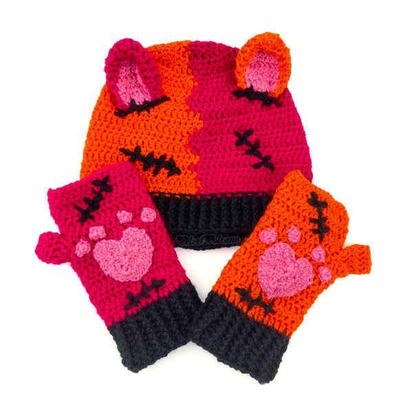 Custom Colour FrankenKitty Beanie and Gloves Set
