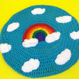Turquoise / Bright Blue Crochet Beret Hat with Weather and Sky Themed Kawaii Rainbow Cloud Design by VelvetVolcano