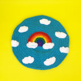 Bright Blue Crochet Beret Hat with Kawaii Rainbow Cloud Design by VelvetVolcano