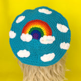 Turquoise Crochet Beret with Rainbow Cloud Design by VelvetVolcano