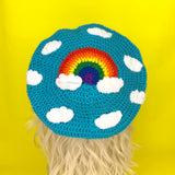 Rainbow Cloud Beret - Kawaii Crochet Weather Themed Hat by VelvetVolcano