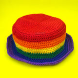 Rainbow Bucket Hat - Colourful Striped Unisex Teen & Adult Crochet Sun Hat by VelvetVolcano