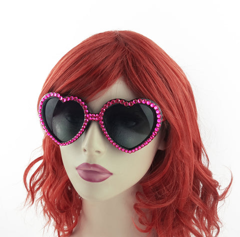 VelvetVolcano Cerise & Black Bling Lolita Heart Shaped Sunglasses