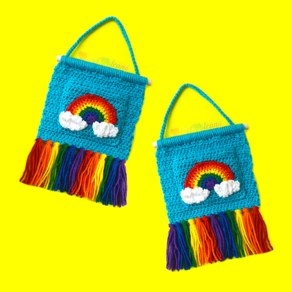 Rainbow Cloud Tassel Wall Hanging with Pocket