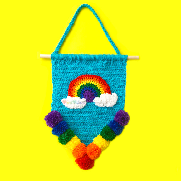 Rainbow Cloud Pennant Wall Hanging - Colourful Turquoise & ROYGBIV Pom Pom Home Decor by VelvetVolcano