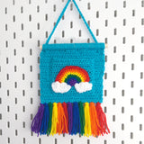 Rainbow Cloud Wall Hanging with Tassels & Pocket - Colourful Home Decor by VelvetVolcano