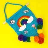 Rainbow Cloud Pennant Wall Hanging - Colourful Turquoise & ROYGBIV Pom Pom Home Decor Enamel Pin Storage by VelvetVolcano