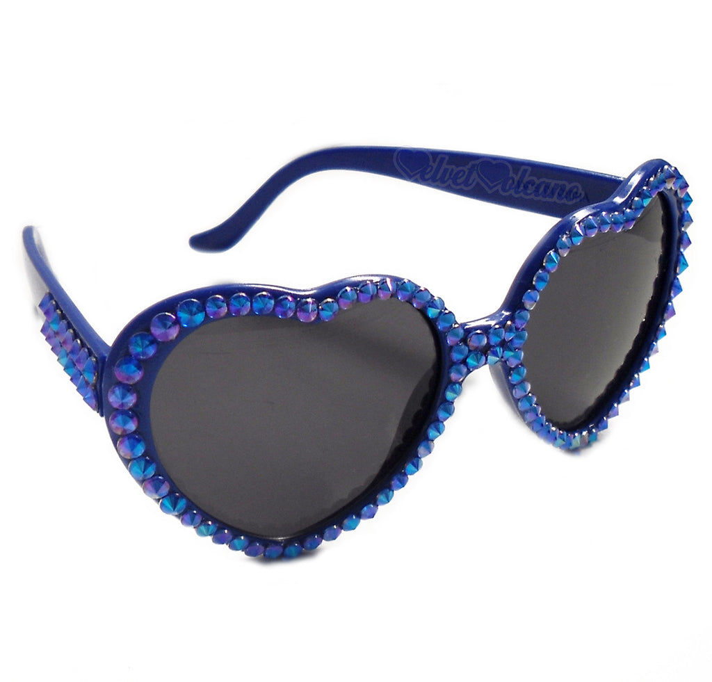 'SAPPHIRE' Royal Blue Heart Shaped Sunglasses by VelvetVolcano