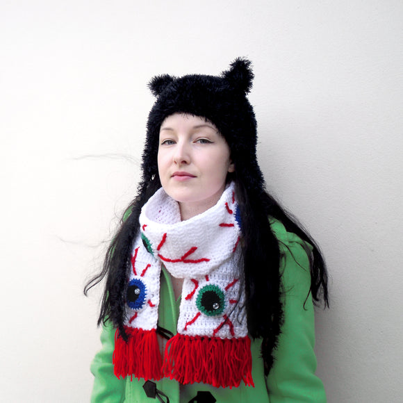 Black Fluffy Kitty Beanie Hat