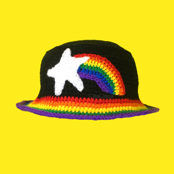 Shooting Star Rainbow Bucket Hat - Custom Colour Unisex Teen & Adult Crochet Sun Hat by VelvetVolcano