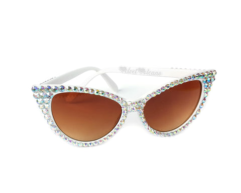 'STARLET' Cat Eye Sunglasses - White Cat Eye Sunglasses with Bronze Lenses, encrusted with Silver 'Aurora Borealis' (rainbow effect) rhinestones by VelvetVolcano