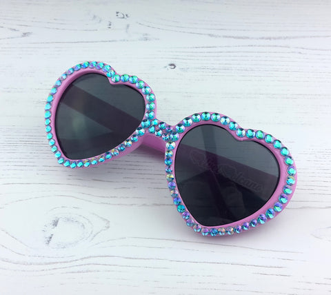 BUBBLEGUM Turquoise & Pink Heart Shaped Sunglasses