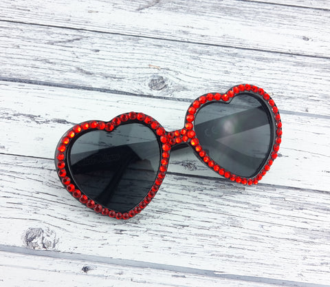 VALENTINE Red & Black Heart Shaped Sunglasses