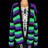 Purple, Neon Green and Black Striped Crocheted Cardigan - Gothic Grunge Custom Granny Rocks Cardi by VelvetVolcano