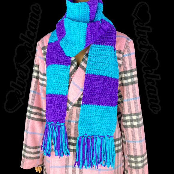Purple and Turquoise Chunky Striped Crocheted Scarf - Colourful Extra Long Stripy Winter Scarf with Tassels by VelvetVolcano