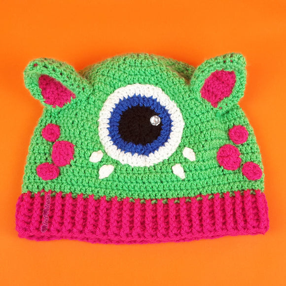 Cyclops Kitty Beanie - Crochet Custom Colour Monster Cat Ear Hat by VelvetVolcano