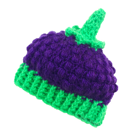 Blackberry Crochet Baby Beanie by VelvetVolcano - Aubergine (Dark Purple) & Neon Green Acrylic Kids Berry Hat