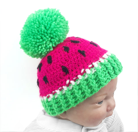 Neon Green and Neon Pink Watermelon Design Bobble Hat for 0-3 Month Old Baby