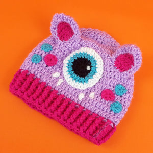 Lilac, Cerise & Turquoise Baby Cyclops Kitty Beanie 3-6 Months