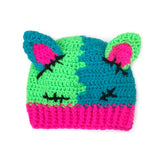 FrankenKitty Beanie (Baby - Child Sizes) - Neon Green, Turquoise, Neon Pink & Black Spooky Cute Kids Cat Ear Hat by VelvetVolcano