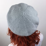 Grey & White Bow Beret - Custom Colour Vintage Inspired Crochet Hat by VelvetVolcano