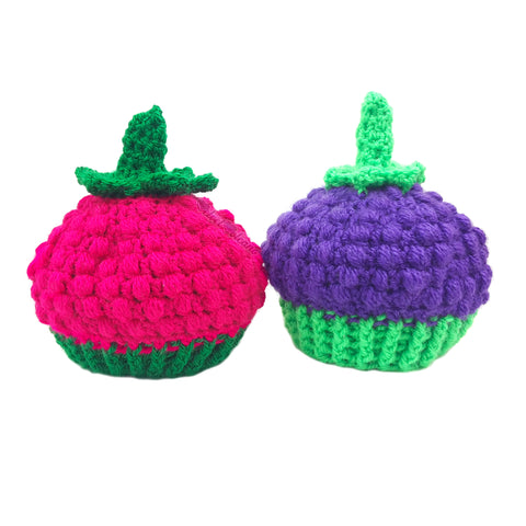 Raspberry & Blackberry Crochet Hats in Baby and Kids Sizes by VelvetVolcano
