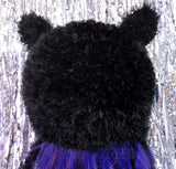 Black Fluffy Kitty Beanie Hat by VelvetVolcano