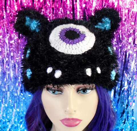 Cyclops Kitty Beanie (Furry) by VelvetVolcano