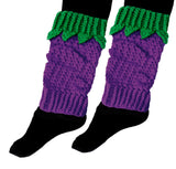 Blackberry Leg Warmers - Violet Purple Bobble Effect Crochet Leg Warmers with Emerald Green Top Rib and Leaf Detail, made from 100% Premium Acrylic Yarn by VelvetVolcano
