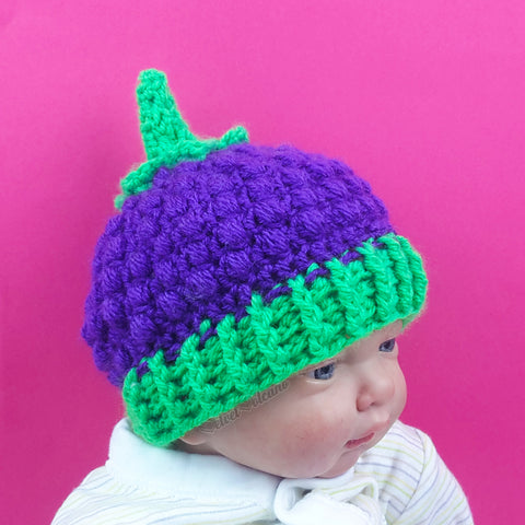 Blackberry Crochet Baby Beanie by VelvetVolcano - Violet & Neon Green Acrylic Berry Hat