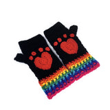 Black Crochet Fingerless Gloves with Red Heart Shaped Cat Paw Prints and Rainbow Striped Cuff by VelvetVolcano