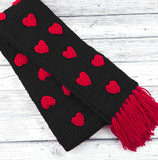 Valentine's Black and Rose Red Acrylic Crochet Scarf with Heart Pattern and Tassels by VelvetVolcano