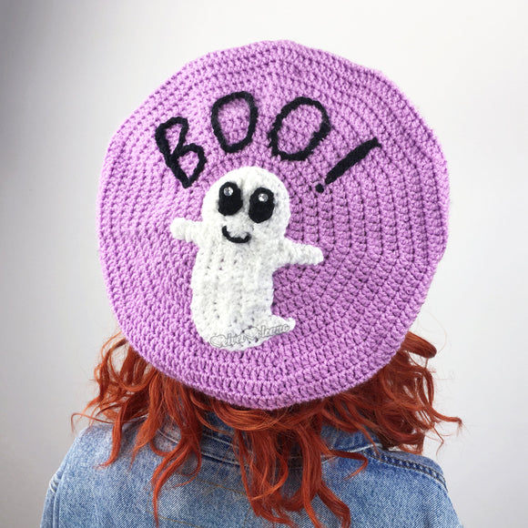 BOO! Ghost Beret - Custom Colour Crochet Pastel Goth Hat by VelvetVolcano