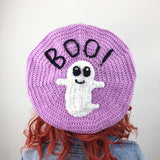 Spooky Cute Lilac, Black & White Crochet Beret - Handmade Pastel Goth Hat with Ghost and BOO! detail by VelvetVolcano
