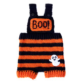 Crochet Orange & Black Striped Baby Dungarees with BOO! Chest Pocket and Ghost Applique by VelvetVolcano