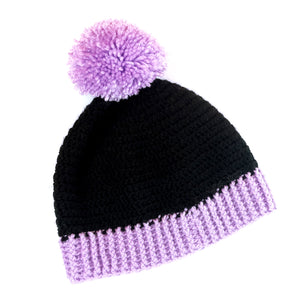 Duotone Pom Pom Beanie - Custom Colour Crochet Acrylic Bobble Hat - Lilac & Black Winter Cap by VelvetVolcano